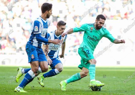 Dani Carvajal of Real Madrid controls the ball