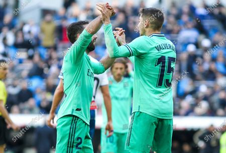 Stock Image of Dani Carvajal of Real Madrid and Fede Valverde of Real Madrid celebrates a goal of Benzema