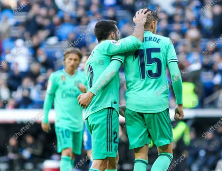 Dani Carvajal of Real Madrid and Fede Valverde of Real Madrid celebrates a goal of Benzema