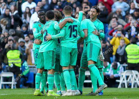 Karim Benzema of Real Madrid Sergio Ramos of Real Madrid Dani Carvajal of Real Madrid Ferland Mendy of Real Madrid and Fede Valverde of Real Madrid celebrates a goal