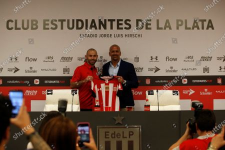 Soccer player Javier Mascherano poses during his presentation press conference as a new player of the Argentinian team Estudiantes de La Plata with the President of the club Juan Sebastan Veron (R) in the stadium Jorge Luis Hirschi in La Plata, Argentina, 07 December 2019.