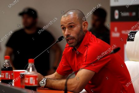 Soccer player Javier Mascherano speaks during his presentation press conference as a new player of the Argentinian team Estudiantes de La Plata in the stadium Jorge Luis Hirschi in La Plata, Argentina, 07 December 2019.