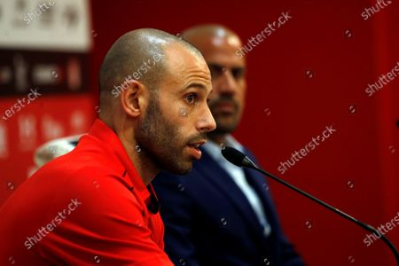 Stock Image of Soccer player Javier Mascherano speaks during his presentation press conference as a new player of the Argentinian team Estudiantes de La Plata with the President of the club Juan Sebastan Veron (R) in the stadium Jorge Luis Hirschi in La Plata, Argentina, 07 December 2019.