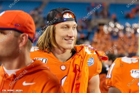 Clemson Tigers quarterback Trevor Lawrence (16) smiles after winning the ACC Championship at Bank of America Stadium in Charlotte, NC