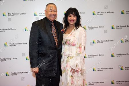 Ralph Johnson, Susan Johnson. 2019 Kennedy Center Honoree Earth, Wind & Fire percussionist Ralph Johnson and wife, Susan Johnson, arrive at the State Department for the Kennedy Center Honors State Department Dinner, in Washington