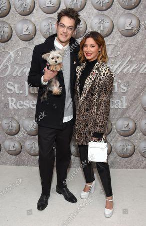 Stock Photo of Ashley Tisdale, Christopher French and dog Ziggy
