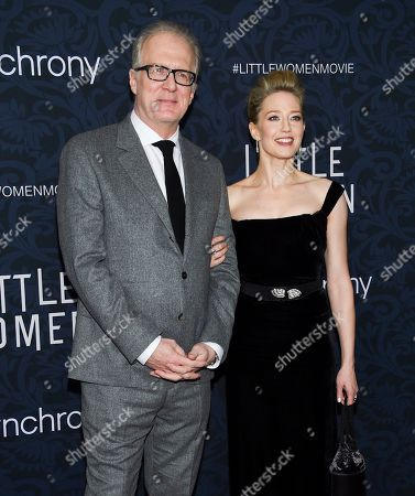 """Tracy Letts, Carrie Coon. Actors Tracy Letts, left, and Carrie Coon attend the premiere of """"Little Women"""" at the Museum of Modern Art, in New York"""