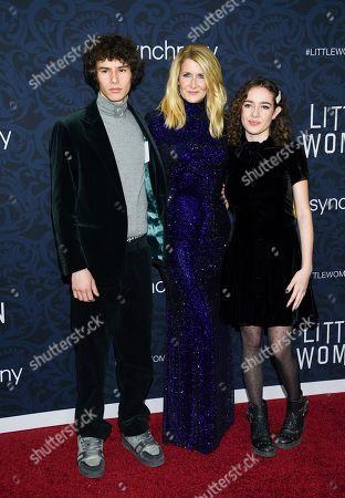 "Ellery Harper, Laura Dern, Jaya Harper. Actress Laura Dern, center, poses with her son Ellery Harper and daughter Jaya Harper at the premiere of ""Little Women"" at the Museum of Modern Art, in New York"