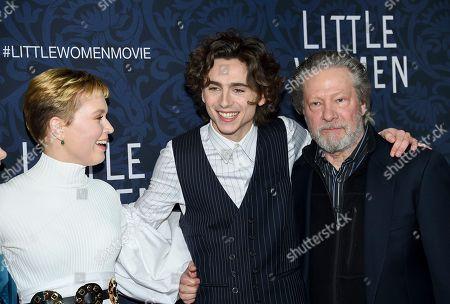 "Eliza Scanlen, Timothee Chalamet, Chris Cooper. Actors Eliza Scanlen, left, Timothee Chalamet and Chris Cooper attend the premiere of ""Little Women"" at the Museum of Modern Art, in New York"
