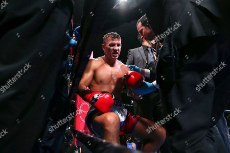 Stock Picture of Russia's Matt Korobov is checked during a stoppage in the second round of a WBA interim middleweight boxing match against Britain's Chris Eubank Jr., in New York