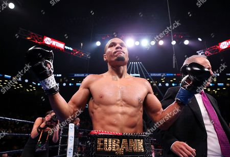 Britain's Chris Eubank Jr. reacts after defeating Russia's Matt Korobov during the second round of a WBA interim middleweight title boxing match, in New York