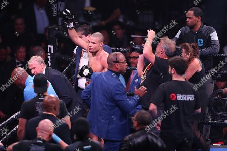 Chris Eubank, Jr. celebrates after defeating contender Matvey Korobov by TKO in second round, in Brooklyn