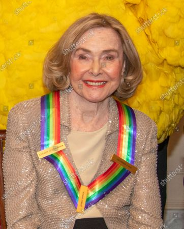 Sesame Street co-founder Joan Ganz Cooney, one of the recipients of the 42nd Annual Kennedy Center Honors poses as part of a group photo following a dinner at the United States Department of State in Washington, D.C.