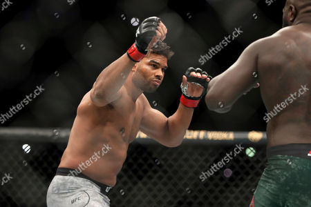 Stock Image of Alistair Overeem, left, in action against Jairzinho Rozenstruik during their heavyweight mixed martial arts bout at UFC Fight Night, in Washington, D.C. Rozenstruik won via 5th round TKO