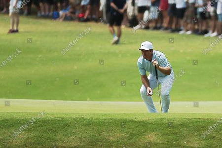 Paul Casey of Britain lines up a putt on the 7th hole during the final round of The Australian Open golf championship at The Australian Golf Club in Sydney, Australia, 08 December 2019.