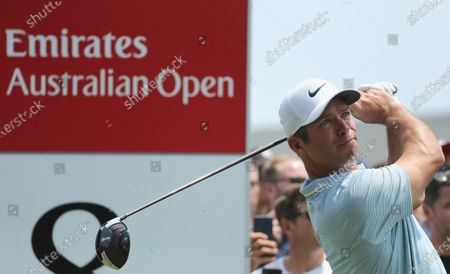 Paul Casey of Britain tees off on the 8th hole during the final round of The Australian Open golf championship at The Australian Golf Club in Sydney, Australia, 08 December 2019.