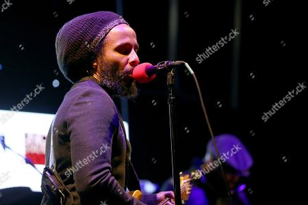 """Ziggy Marley performs live on stage at """"The World's Biggest Sleep Out"""" event at The Rose Bowl, in Pasadena, Calif"""