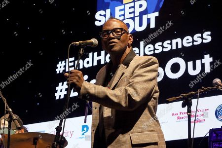 """Randy Jackson performs live on stage at """"The World's Biggest Sleep Out"""" event at The Rose Bowl, in Pasadena, Calif"""
