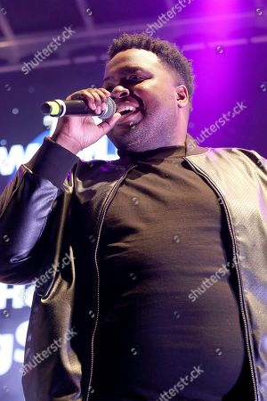 """Stock Image of Sean Kingston performs live on stage at """"The World's Biggest Sleep Out"""" event at The Rose Bowl, in Pasadena, Calif"""
