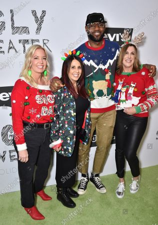 LeBron James, Linda Rambis, Stacy Kennedy and Jeanie Buss