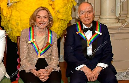 Sesame Street co-founders Joan Ganz Cooney (L) and Dr. Lloyd Morrisett (R), two of the recipients of the 42nd Annual Kennedy Center Honors, pose for a photo following a dinner at the United States Department of State in Washington, DC, USA, 07 December 2019. The 2019 honorees were Earth, Wind & Fire, Sally Field, Linda Ronstadt, Sesame Street and Michael Tilson Thomas.