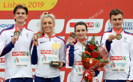 James McMurray, Alexandra Bell, Sarah McDonald and Jonny Davies, of Britain, from left to right, pose with their medals on the podium after winning the Mixed Relay 4 x 1500 meters race during the European Cross Country Championships at the Bela Vista park in Lisbon