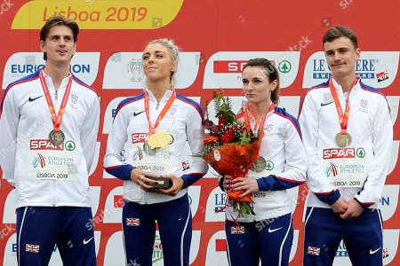 Stock Picture of James McMurray, Alexandra Bell, Sarah McDonald and Jonny Davies, of Britain, from left to right, stand with their medals on the podium after winning the Mixed Relay 4 x 1500 meters race during the European Cross Country Championships at the Bela Vista park in Lisbon