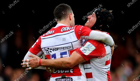 Gloucester vs Connacht. Gloucester's Tom Marshall celebrates his try with Ben Morgan
