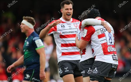Gloucester vs Connacht. Gloucester's Mark Atkinson and Ben Morgan celebrate with try scorer Tom Marshall