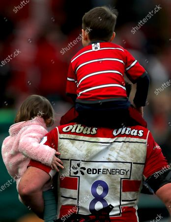 Gloucester vs Connacht. Gloucester's Ben Morgan with his daughter Florence, and son Finn