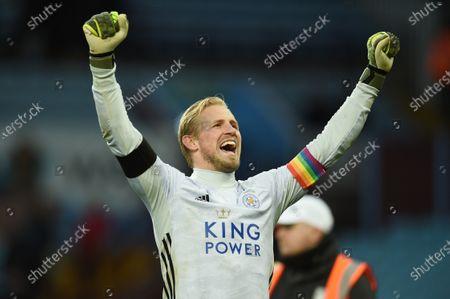 Goal keeper Kasper Schmeichel of Leicester City celebrates.