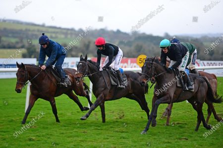 PUNCHESTOWN. 2019 Cheltenham Gold Cup winner AL BOUM PHOTO and Paul Townend, on right, work after racing with KEMBOY (centre) and Patrick Mullins and CHACUN POUR SOI (Ruby Walsh) all for trainer Willie Mullins.