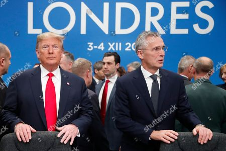 U.S. President Donald Trump and NATO Secretary General Jens Stoltenberg wait to take their seats prior to a NATO leaders meeting at The Grove hotel and resort in Watford, Hertfordshire, England. Three years into the Trump presidency, America's new place in the world is coming into focus, with influence waning from NATO meeting rooms to the Middle East to the capital cities of key allies. And in many ways, that's just fine with the White House