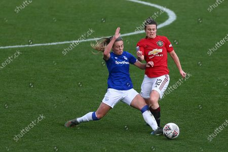 Simone Magill of Everton and Hayley Ladd of Manchester United