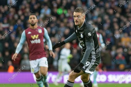 Jamie Vardy (9) during the Premier League match between Aston Villa and Leicester City at Villa Park, Birmingham