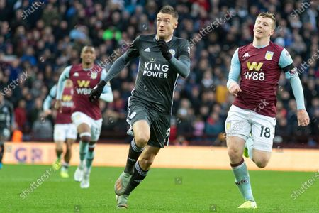 Jamie Vardy (9) in a race for the ball with Matt Targett (18)during the Premier League match between Aston Villa and Leicester City at Villa Park, Birmingham