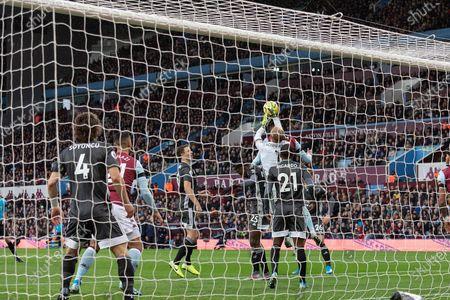 Kasper Schmeichel (1) saves during the Premier League match between Aston Villa and Leicester City at Villa Park, Birmingham