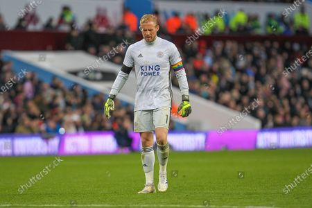 Stock Image of Kasper Schmeichel of Leicester City during the Premier League match between Aston Villa and Leicester City at Villa Park, Birmingham