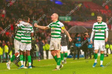 Celtic Captain Scott Brown Celebrates winning the Betfred Scottish League Cup during the Betfred Scottish League Cup Final match between Rangers and Celtic at Hampden Park, Glasgow