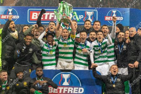 Celtic Captain Scott Brown Lifts the Betfred Scottish League Cup and celebrates alongside his team mates at Hampden Park, Glasgow