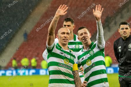 Celtic Captain Scott Brown & Team mate Callum McGregor of Celtic FC during the Betfred Scottish League Cup Final match between Rangers and Celtic at Hampden Park, Glasgow