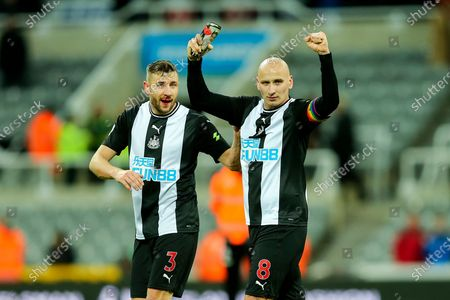 Jonjo Shelvey (#8) of Newcastle United celebrates with Paul Dummett (#3) of Newcastle United following the Premier League match between Newcastle United and Southampton at St. James's Park, Newcastle