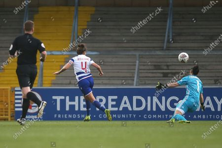 Fara Williams of Reading is denied by Manuela Zinsberger of Arsenal during Reading FC Women vs Arsenal Women, Barclays FA Women's Super League Football at Adams Park on 8th December 2019