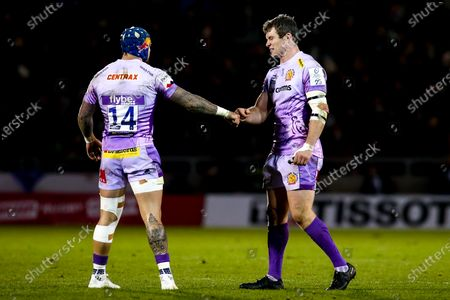Stock Photo of Ian Whitten and Jack Nowell of Exeter Chiefs fist bump
