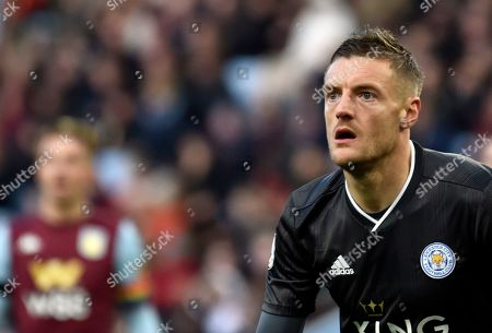 Leicester's Jamie Vardy looks out during the English Premier League soccer match between Aston Villa and Leicester City at Villa Park in Birmingham, England