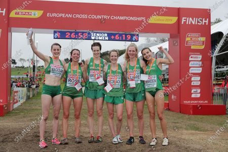 The Ireland Women's senior team of Fionnuala Ross, Una Britton, Aoibhe Richardson, Mary Mulhare, Fionnuala McCormack and Ciara Mageean celebrate winning a silver team medal