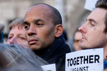 Chuka Umunna. People hold a Together Against Antisemitism rally in Parliament Square
