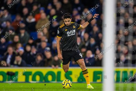 Raul Jimenez (Wolverhampton Wanderers) during the Premier League match between Brighton and Hove Albion and Wolverhampton Wanderers at the American Express Community Stadium, Brighton and Hove