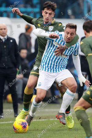 Spal's Thiago Cionek (R) and Brescia's Emanuele Ndoj (L) in action during the Italian Serie A soccer match Spal vs Brescia Calcio at Paolo Mazza stadium in Ferrara, Italy, 8 December 2019.