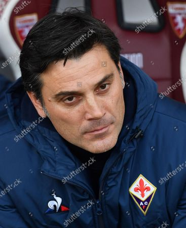 Stock Photo of Fiorentina's head coach Vincenzo Montella gestures during the Italian Serie A soccer match Torino FC vs ACF Fiorentina at Olimpico Grande Torino stadium in Turin, Italy, 8 December 2019.